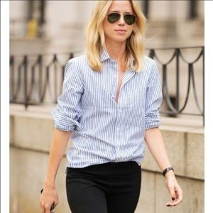 Blue and White J Crew Stretch Perfect Button Down